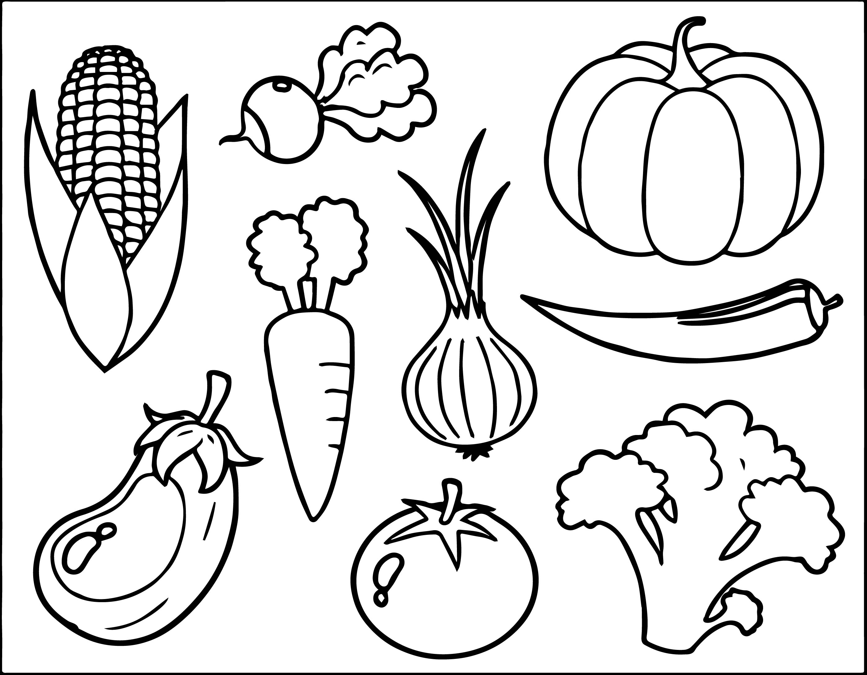 Veggies Coloring Pages Free Vegetable Page Wecoloringpage