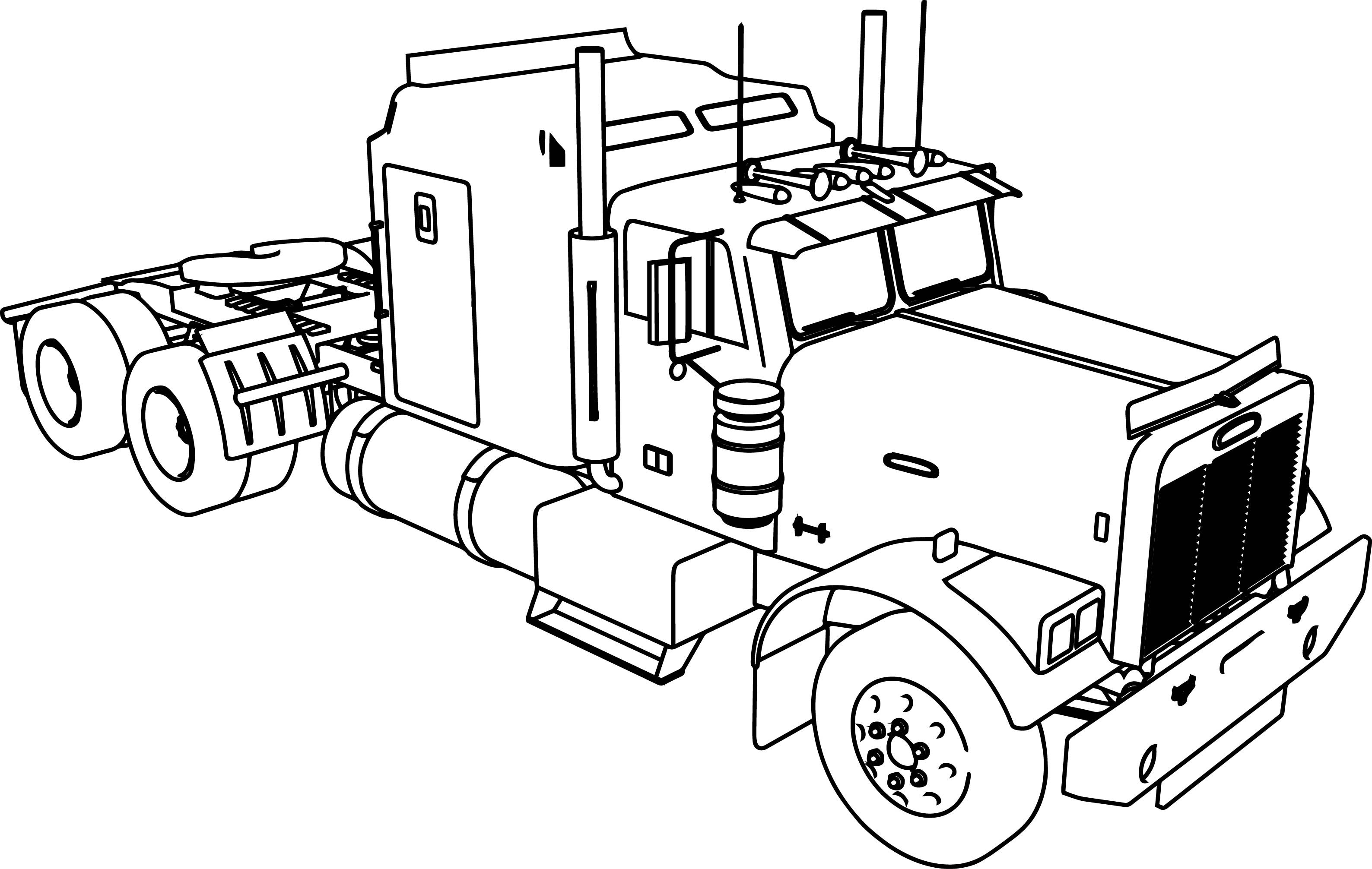 Truck Coloring Pages Long Trailer Truck Coloring Page  Wecoloringpage