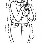 Girl Wearing Hat Gloves Shivering Winter Coloring Page