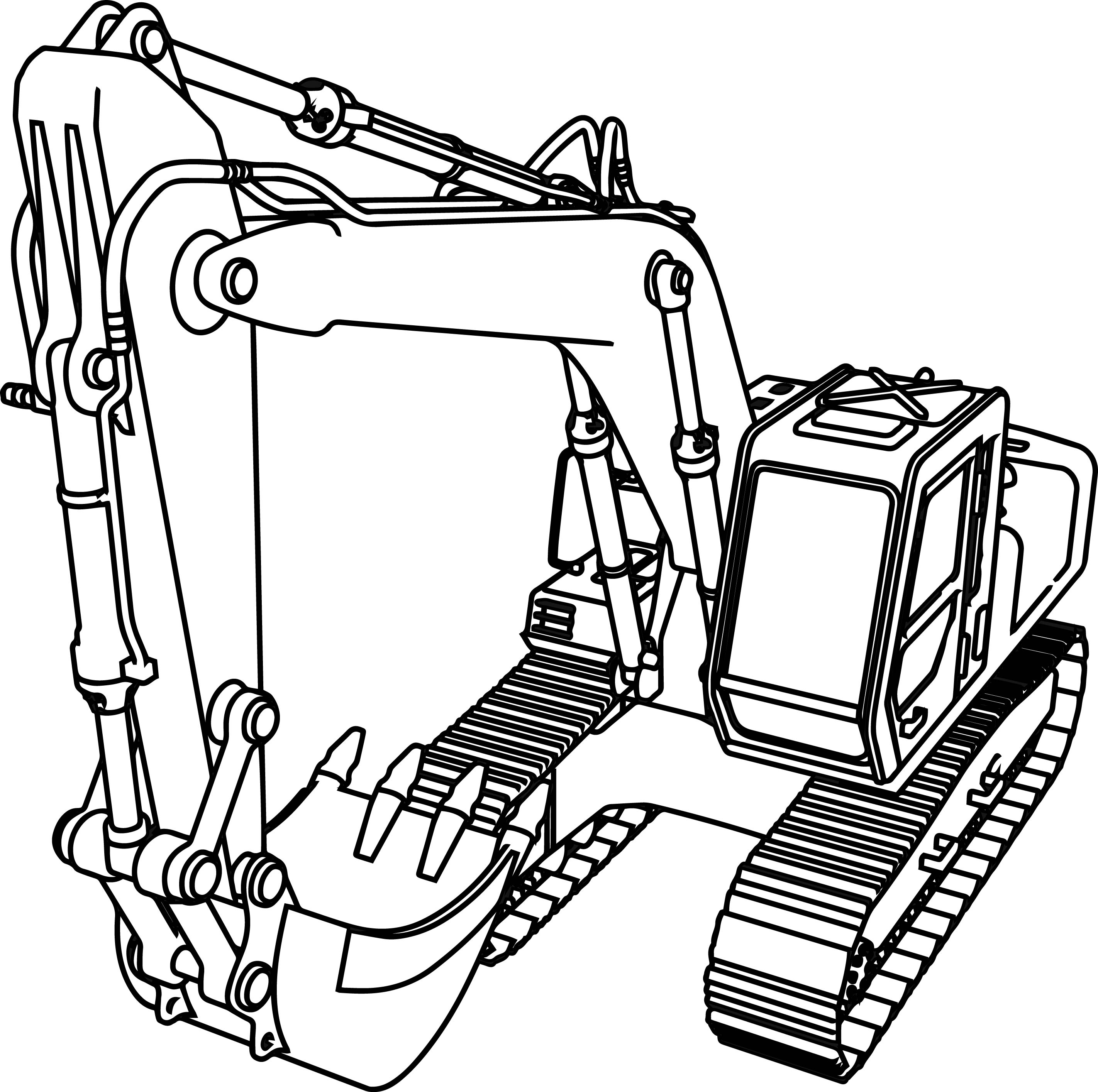 good excavator coloring page wecoloringpage