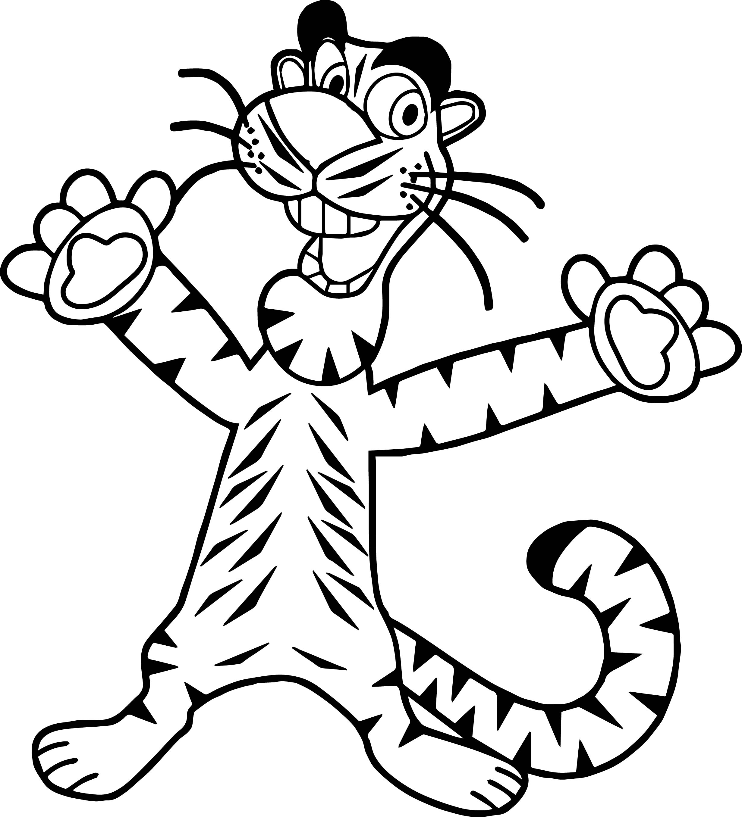 Tiger Football Coloring Pages. Happy Tiger Coloring Page  Wecoloringpage