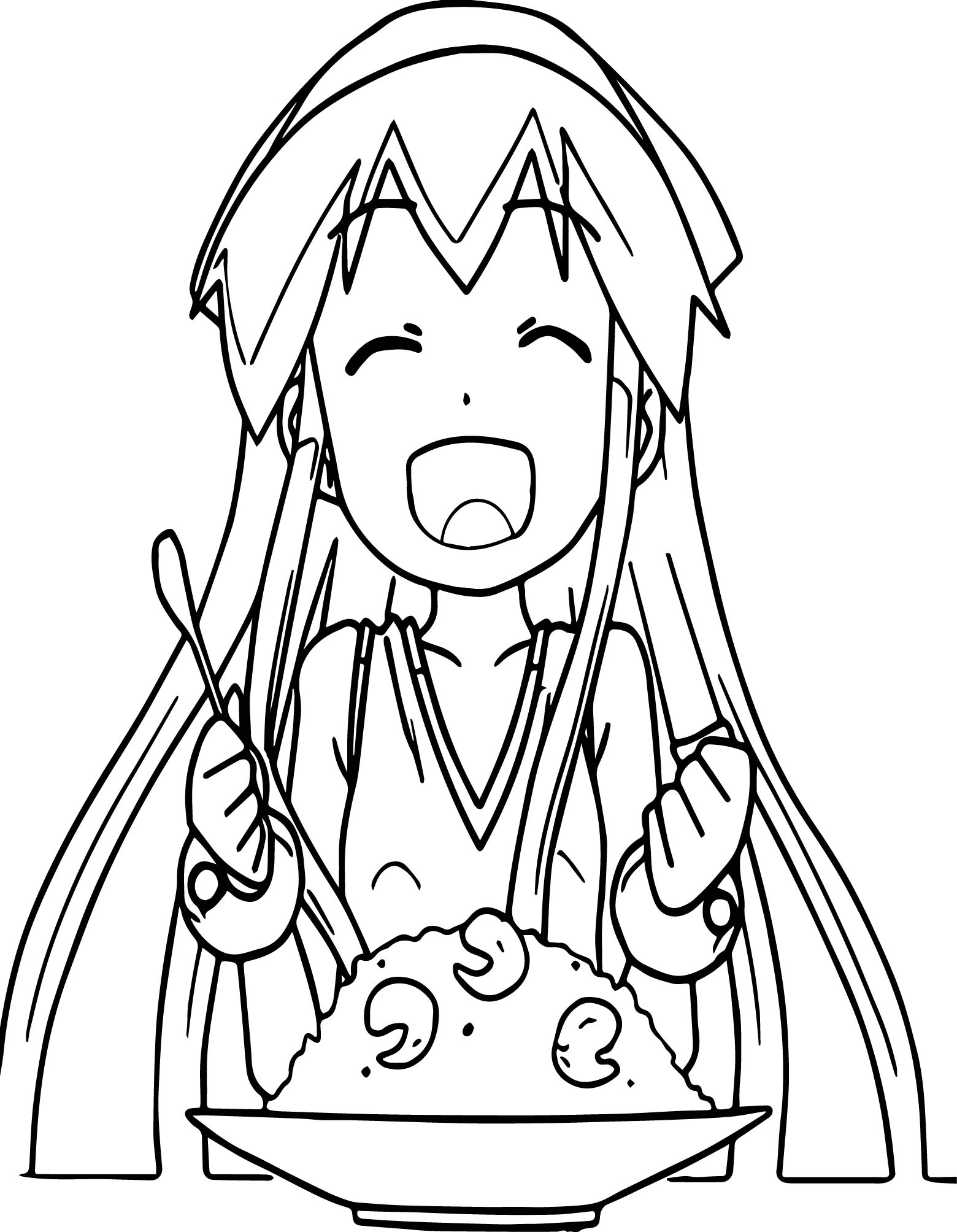 Laugh Squid Girl An Eat Food Coloring Page