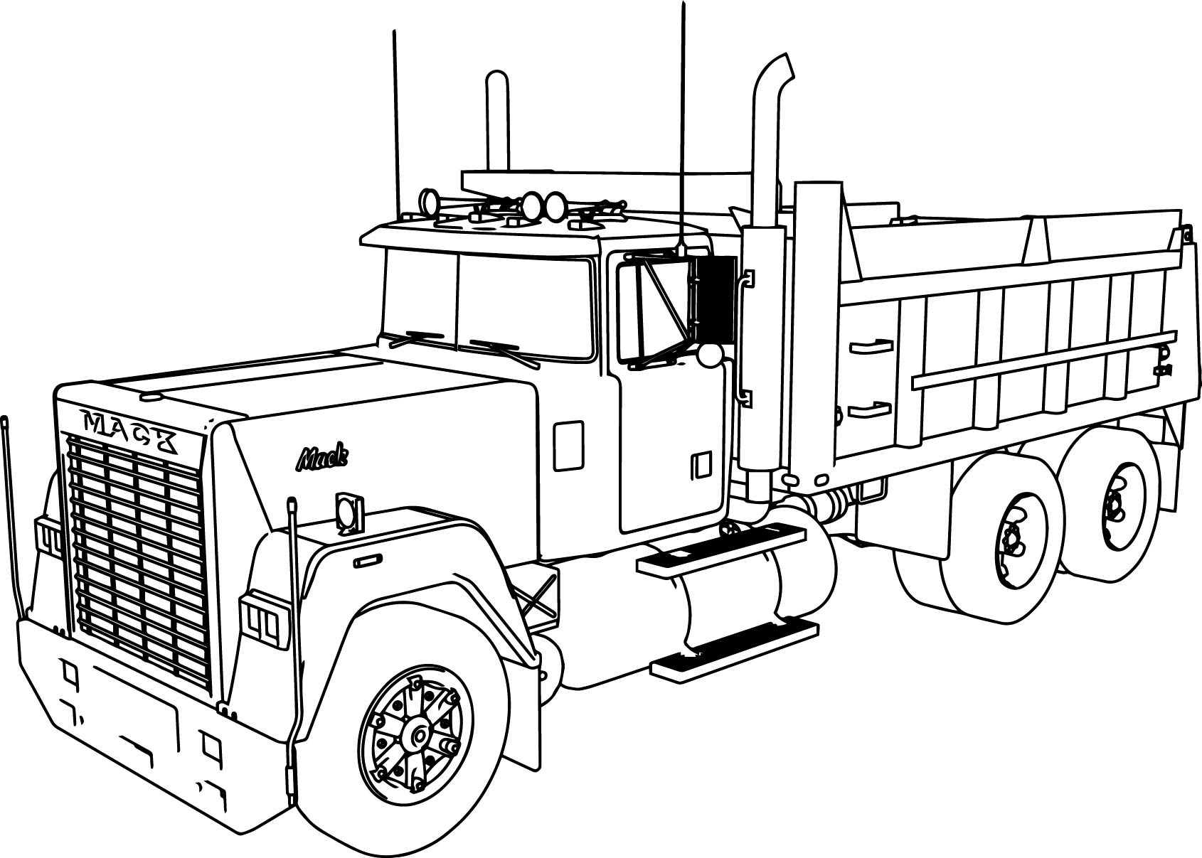 Mack dumper truck coloring page for Big trucks coloring pages
