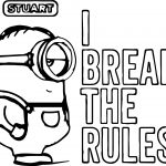 Minion 2015 Stuart I Break The Rules Coloring Page