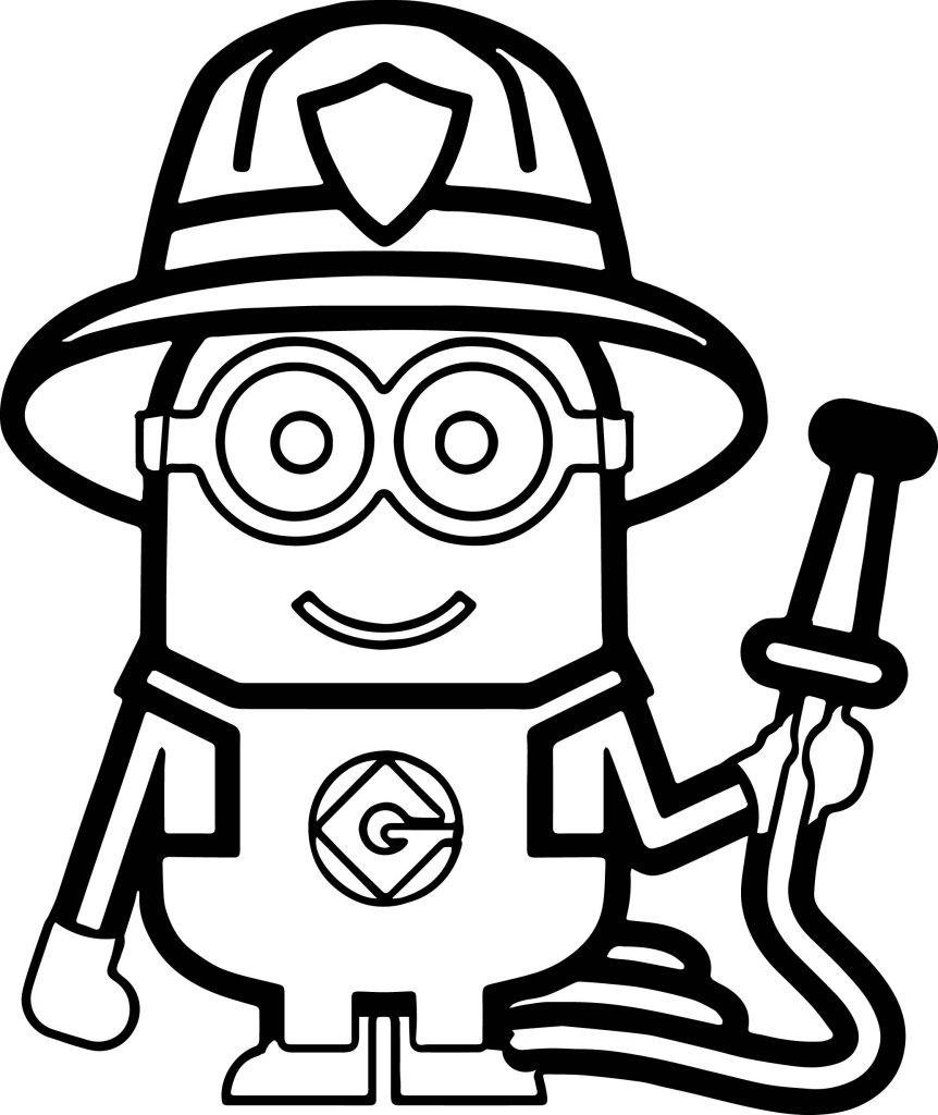 Minions Fireman Coloring Page Wecoloringpage