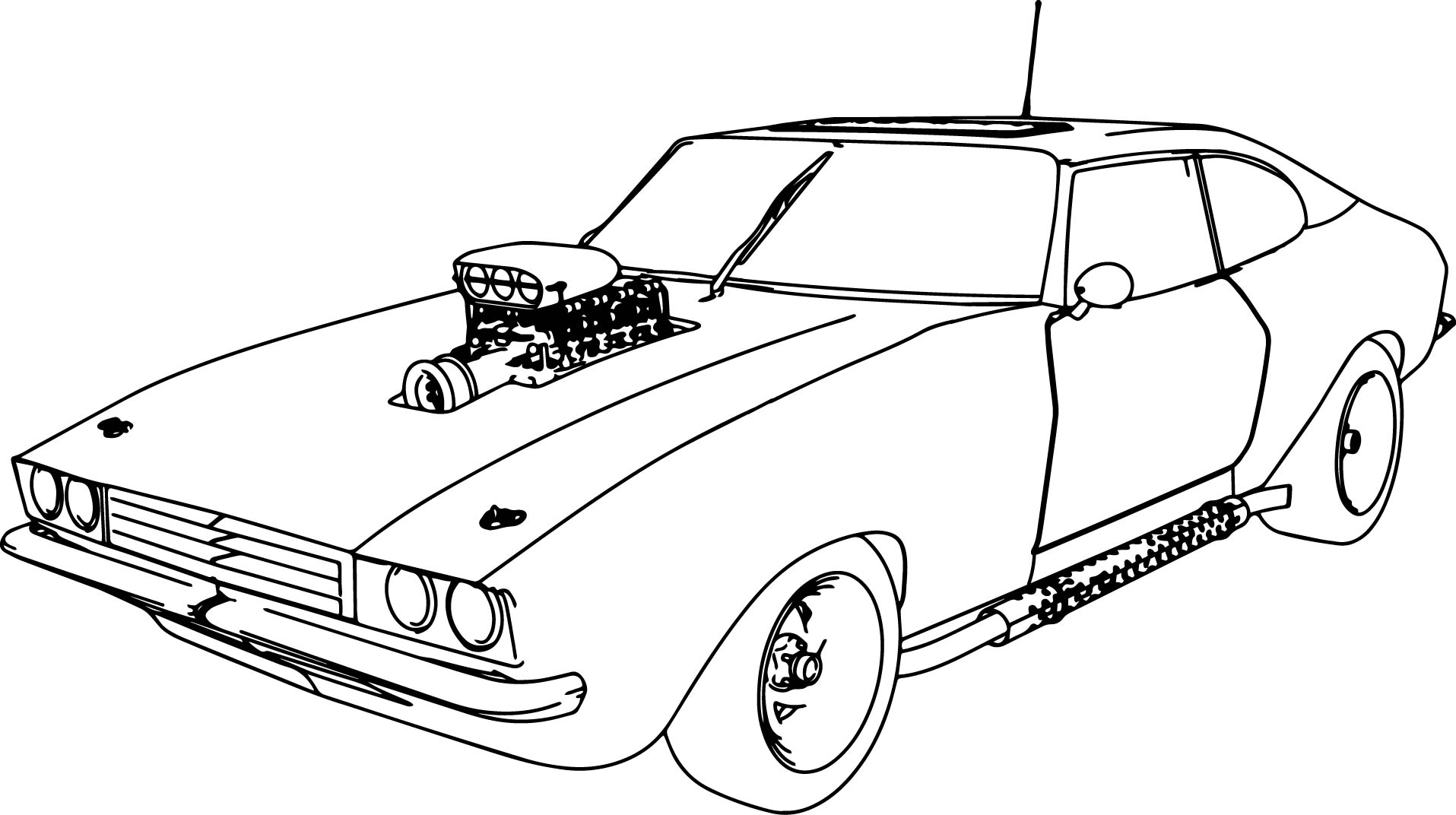 Muscle Car 70 Old Sport Car Coloring Page | Wecoloringpage