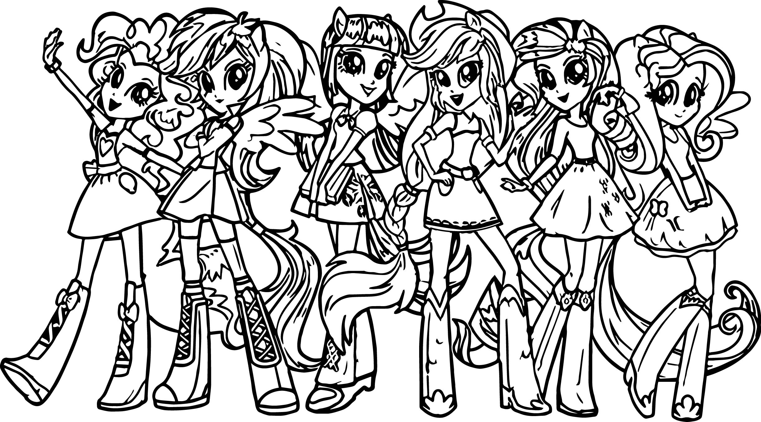 My Little Pony Girls Coloring Page Wecoloringpage