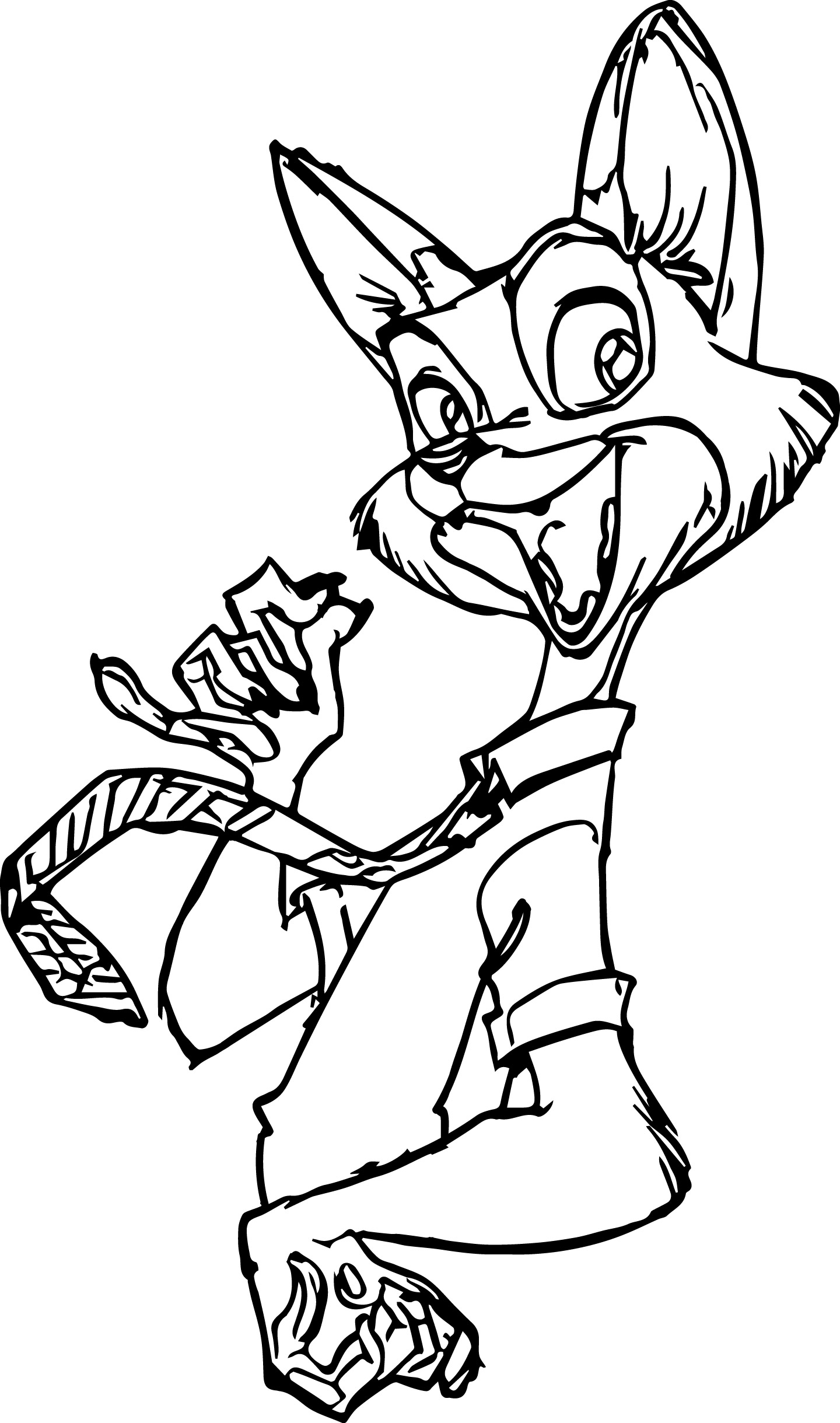 Nick Wilde Fox Zootopia Coloring Page