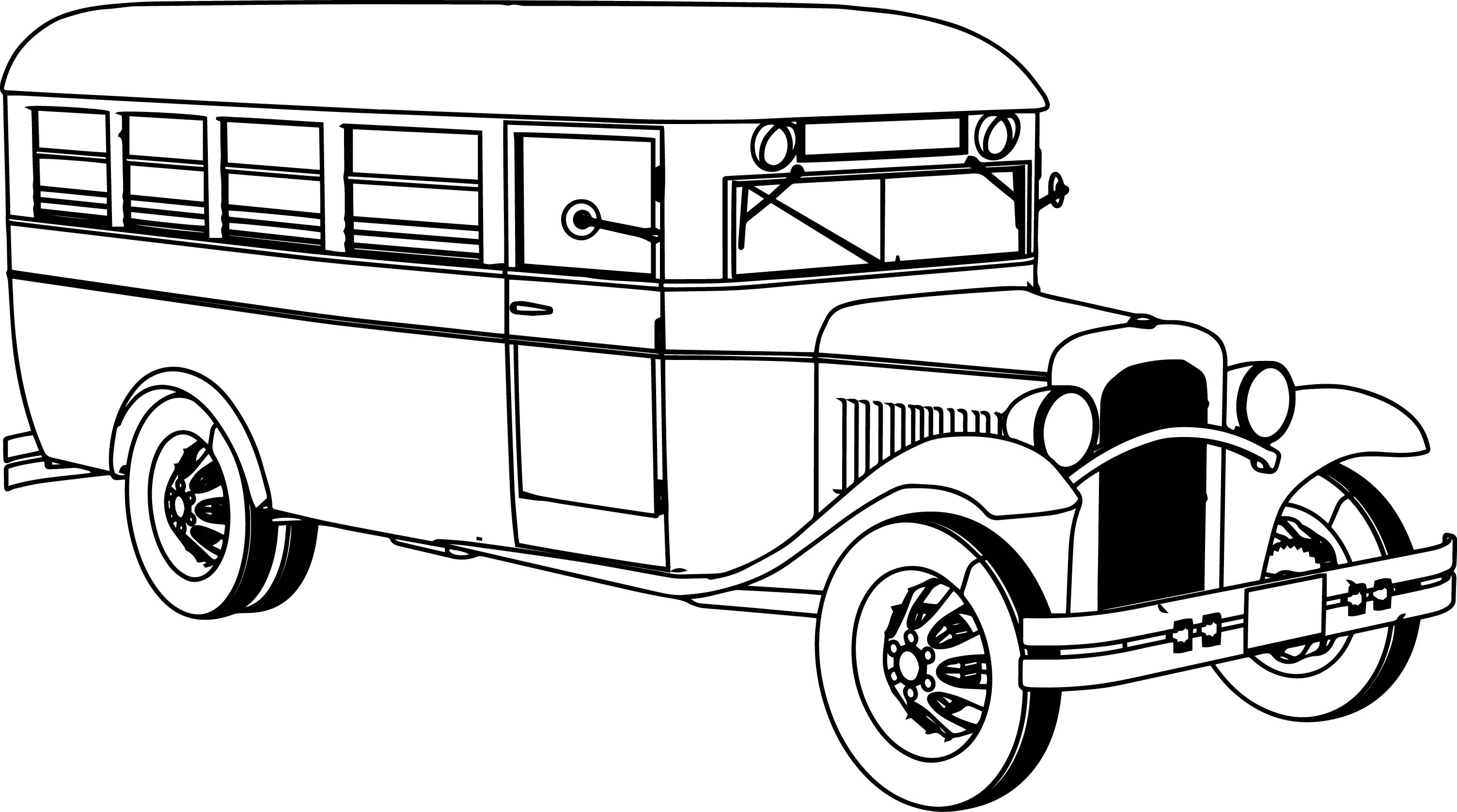 Antique cars coloring pages - Old School Bus Coloring Page
