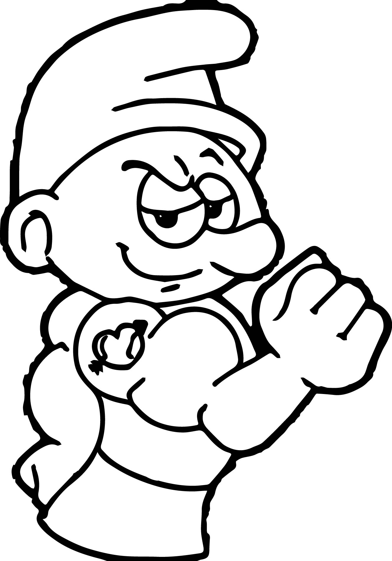Colouring in pages smurfs - Power Smurf Coloring Page