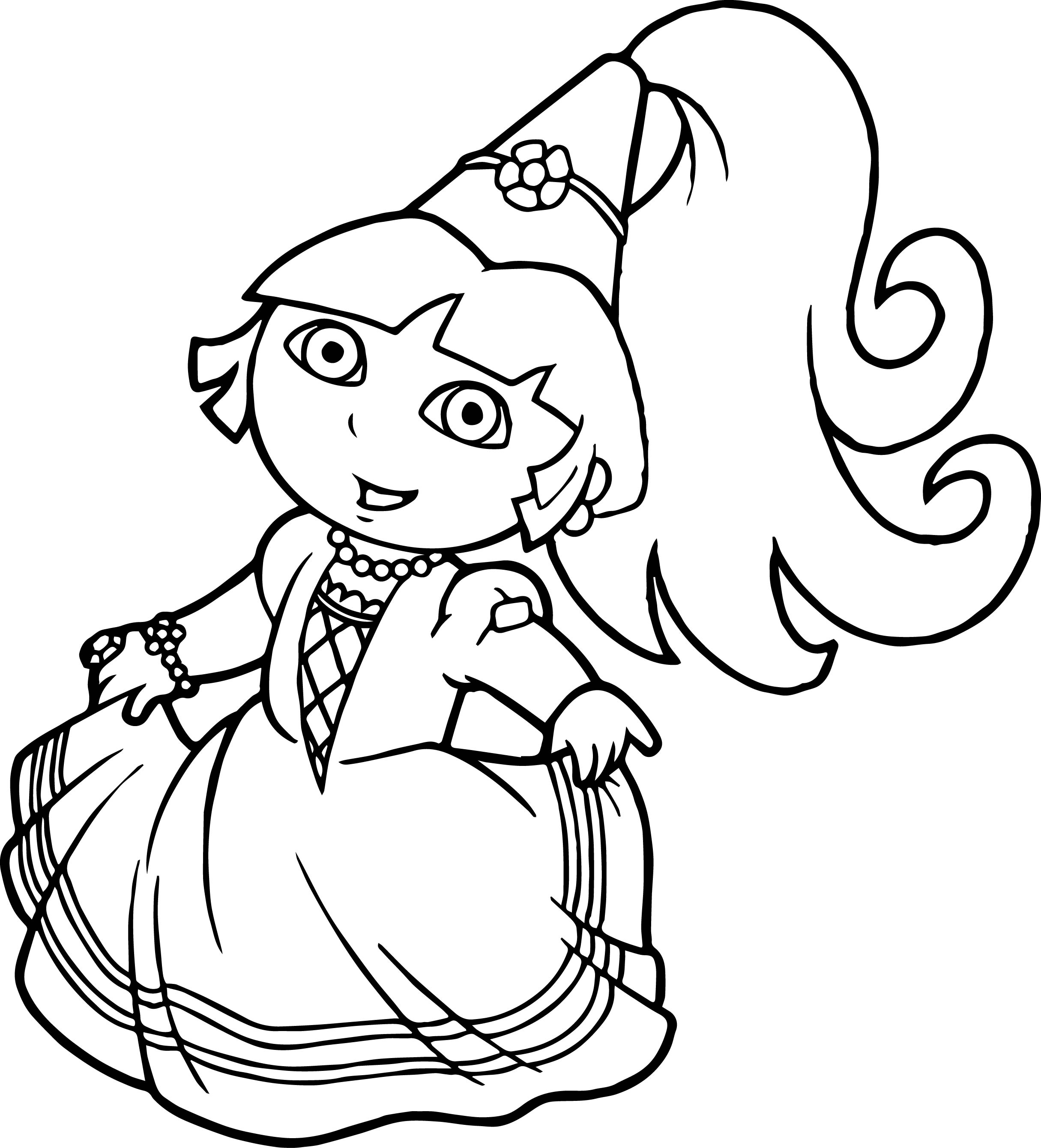 Princess dora the explorer coloring page for Dora black and white coloring pages
