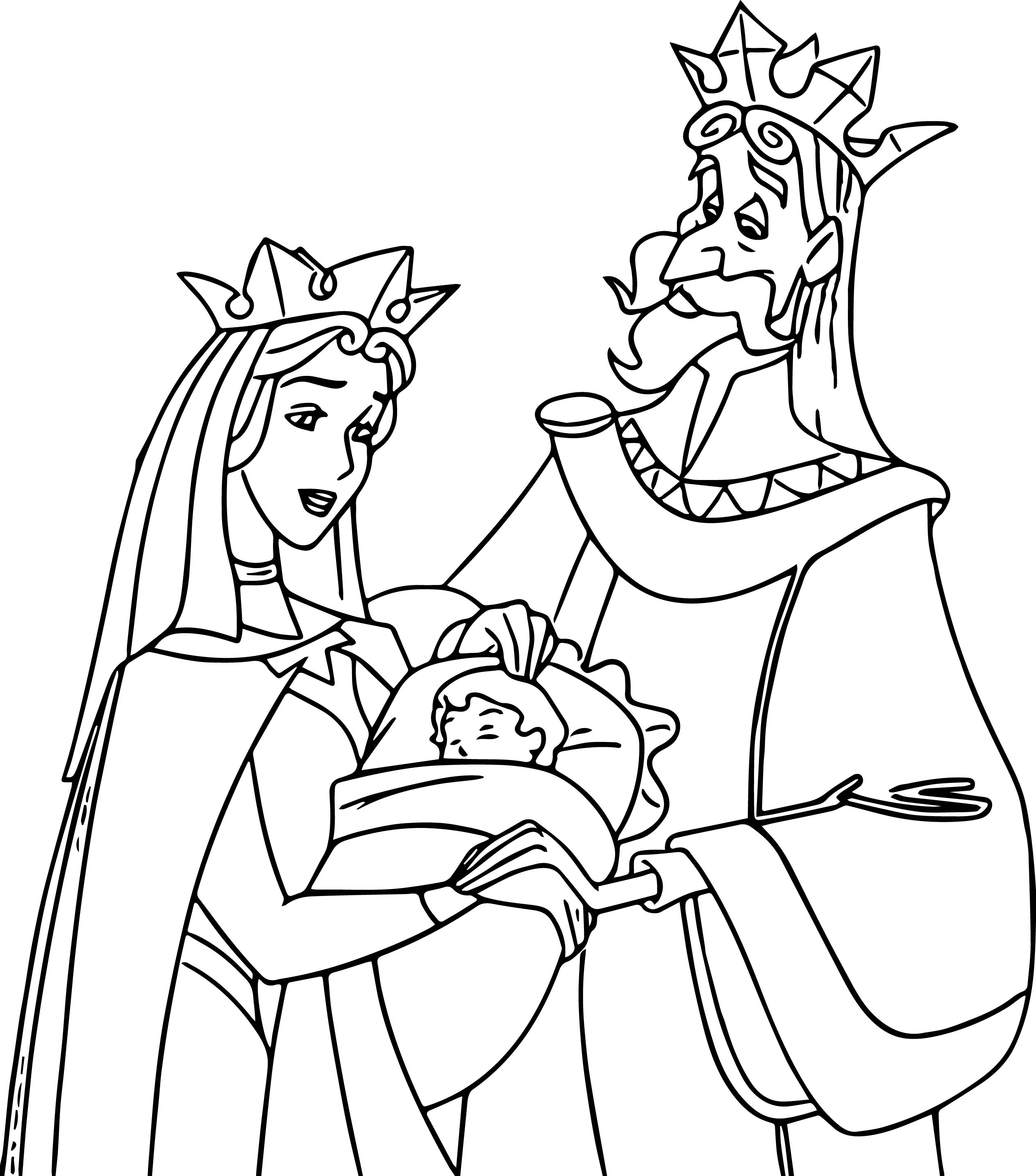 Sleeping beauty baby his mom and dad coloring page for Mom and baby coloring pages