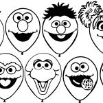 Sesame Street Balloons Coloring Page