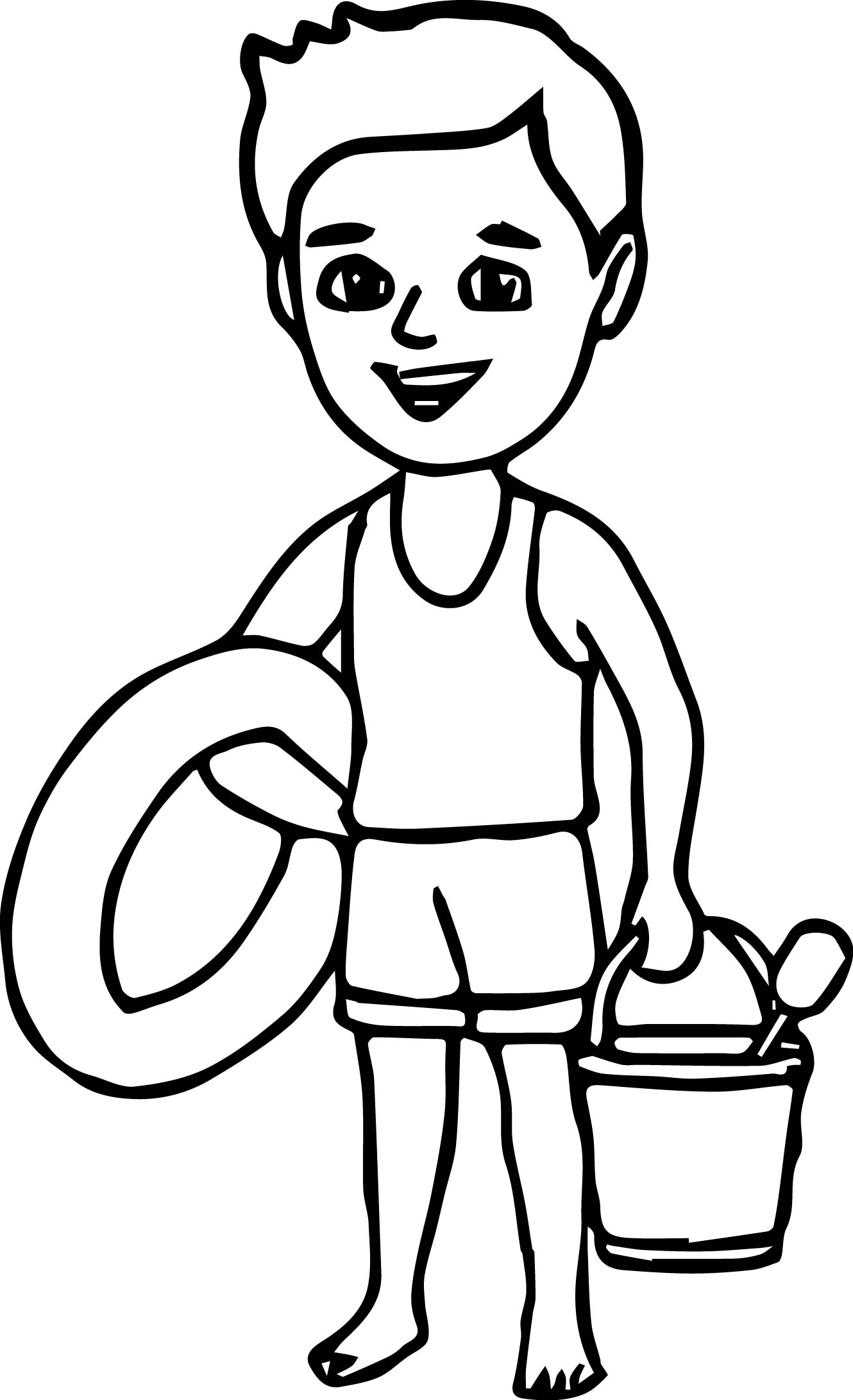 Summer boy on the beach coloring page for Coloring pages girl and boy