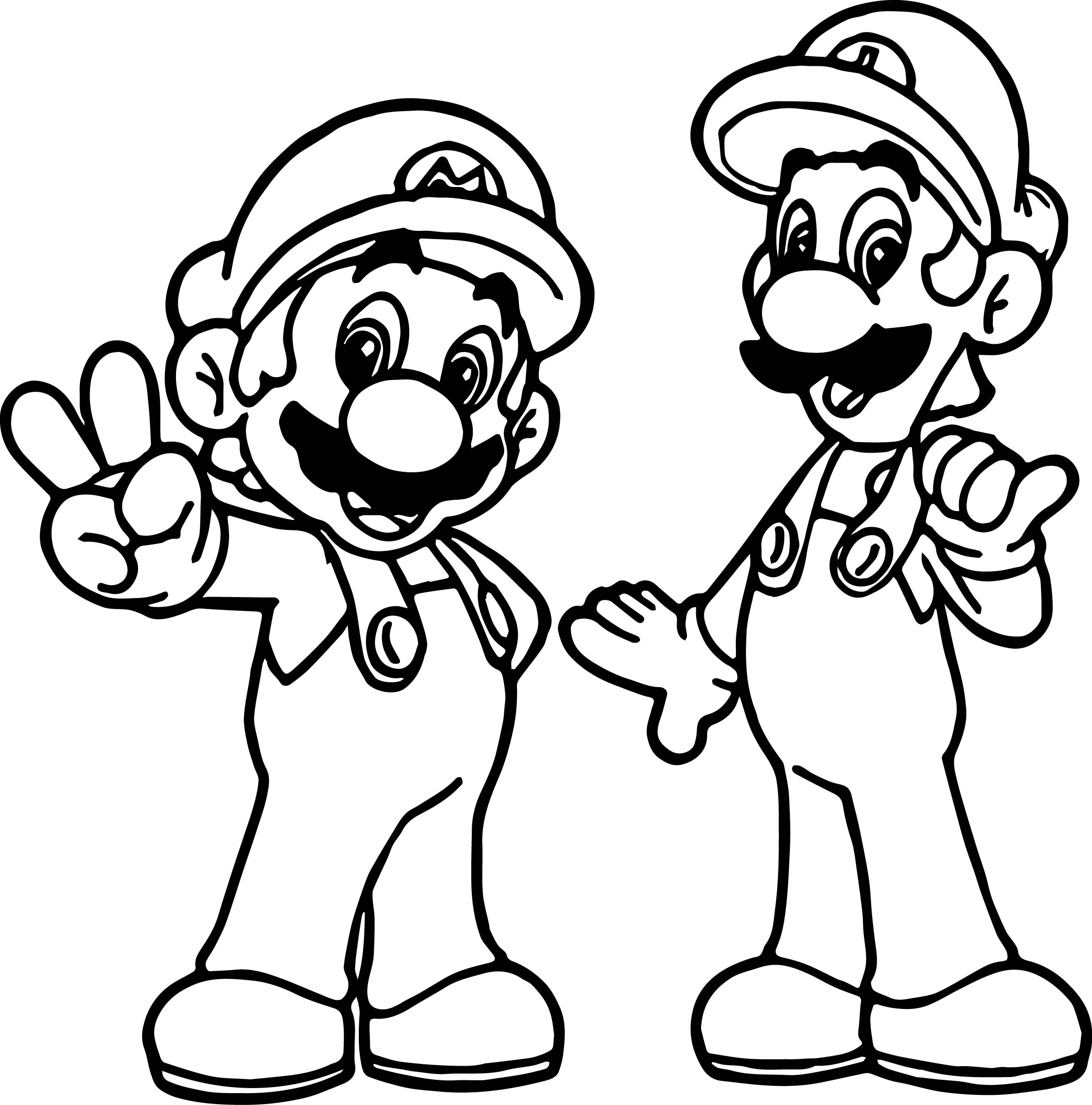 Super Mario And Luigi All Right Coloring Page
