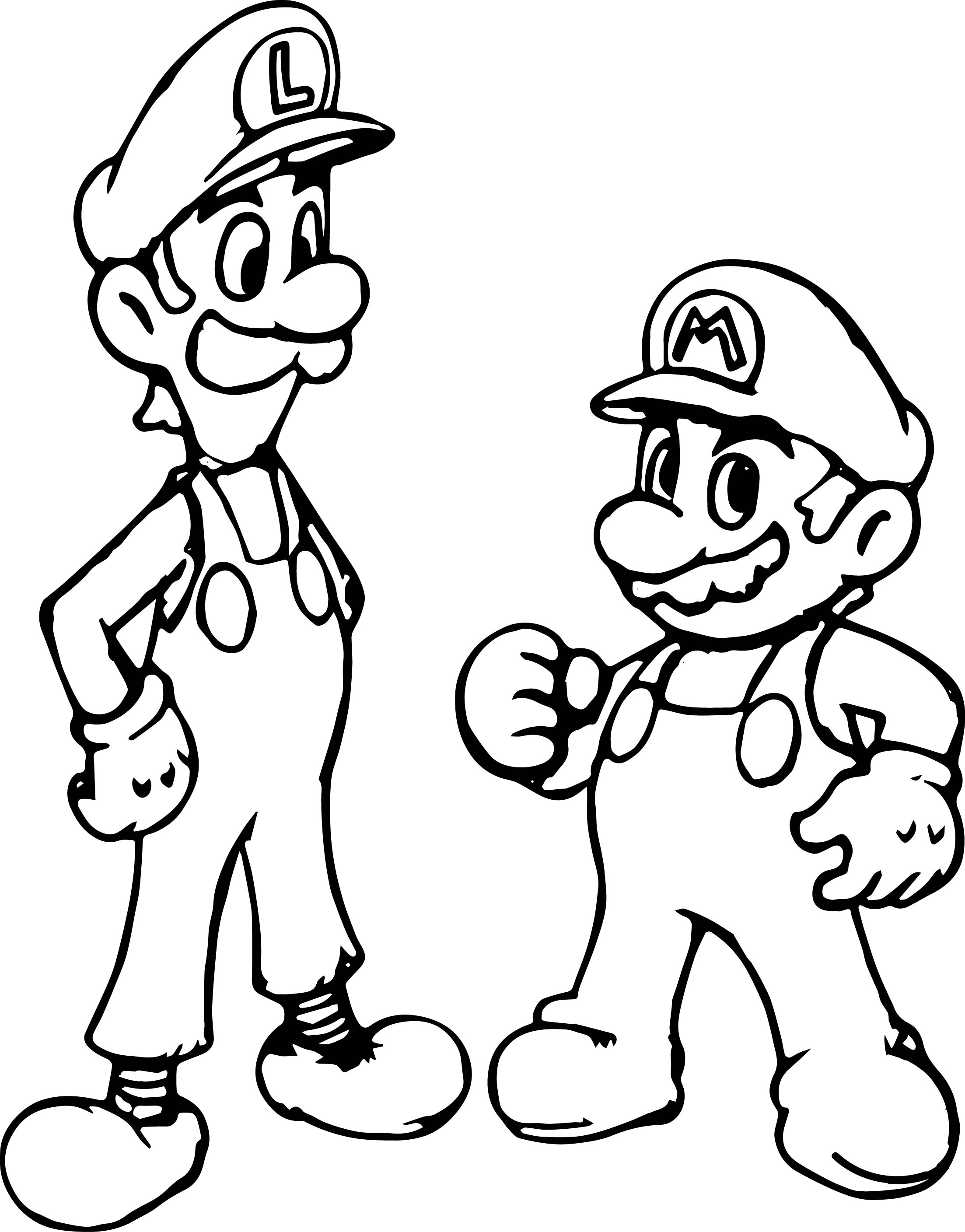 Super Mario And Luigi Coloring Page