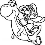 Super Mario And Yoshi Fly Coloring Page