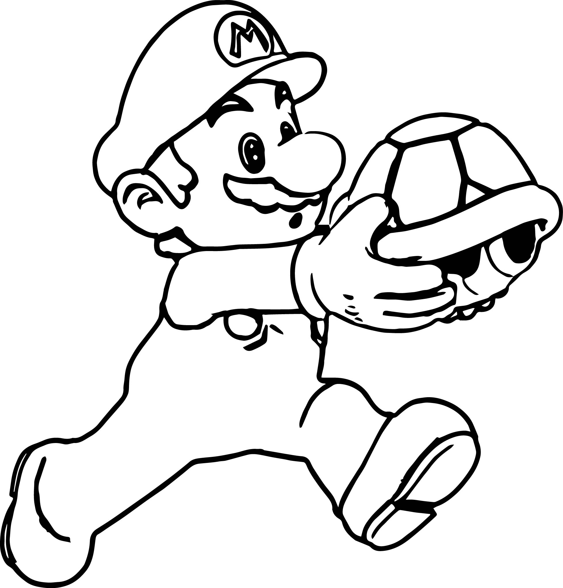 Super Mario Running And Holding Turtle Coloring Page