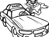 taxi cat driver car coloring page