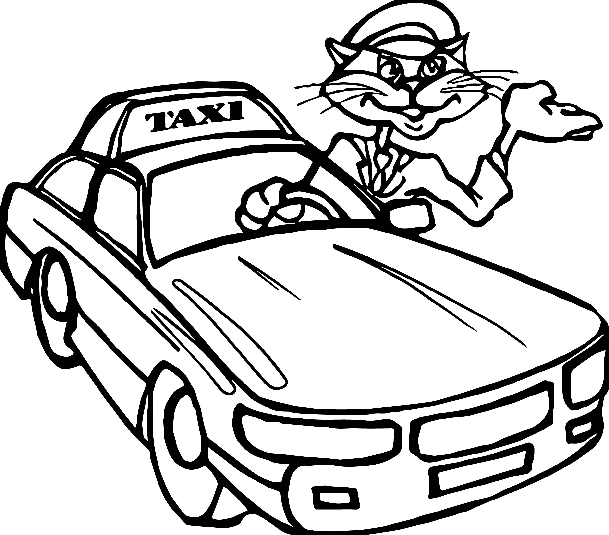 Taxi cat driver car coloring page for Taxi coloring page
