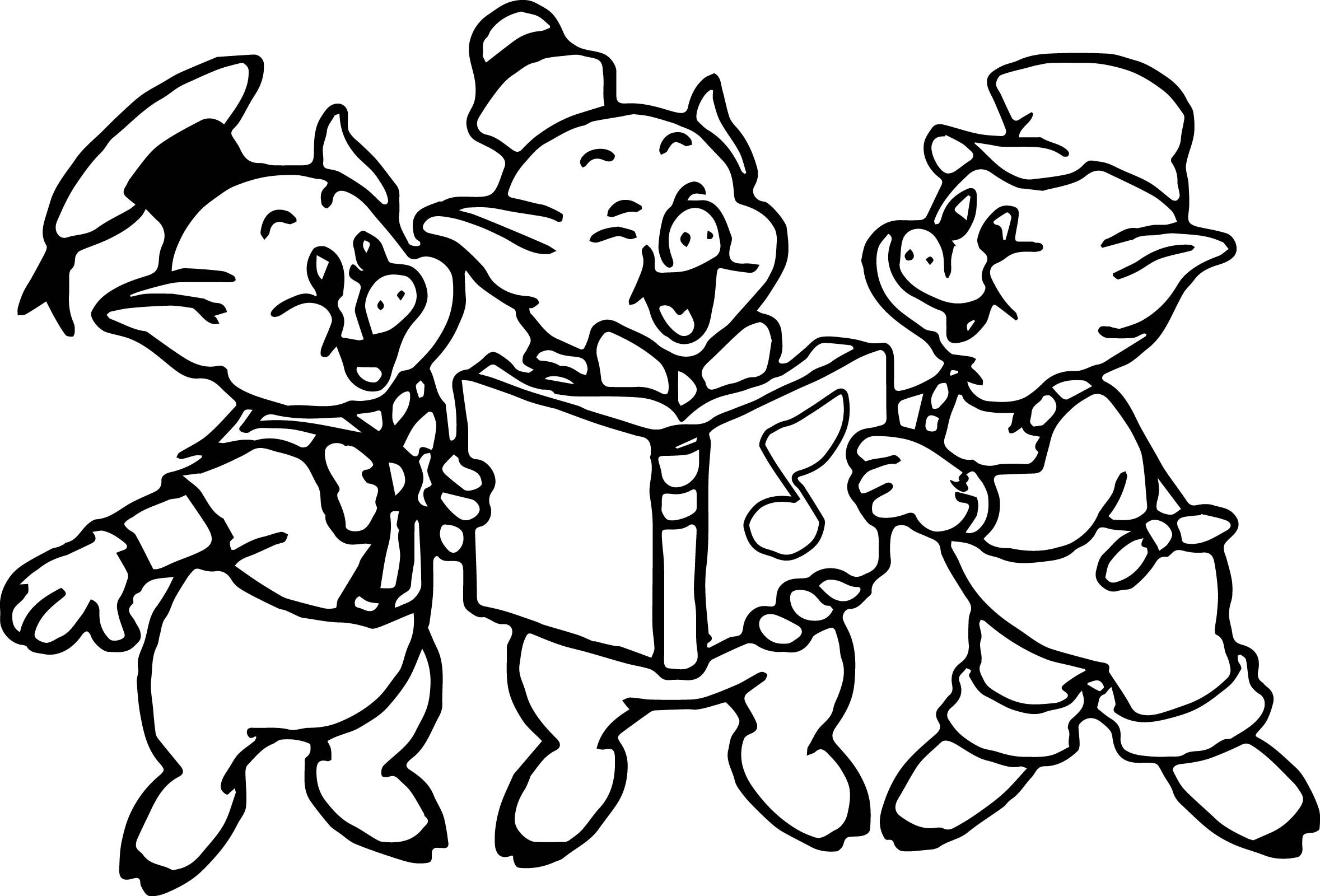 Three Little Pigs Music Book Coloring Page