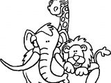 Three Zoo Animal Coloring Page