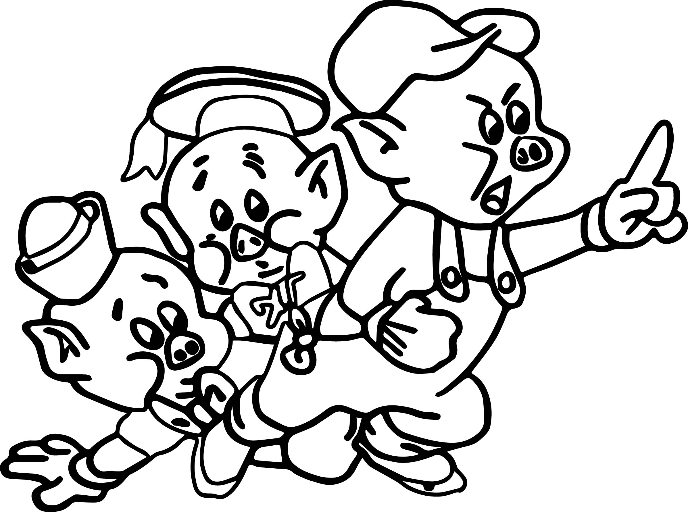 Coloring pages 3 little pigs - Three Little Pig Coloring Page