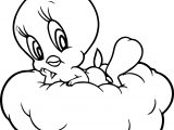 Tweety On The Cloud Coloring Page