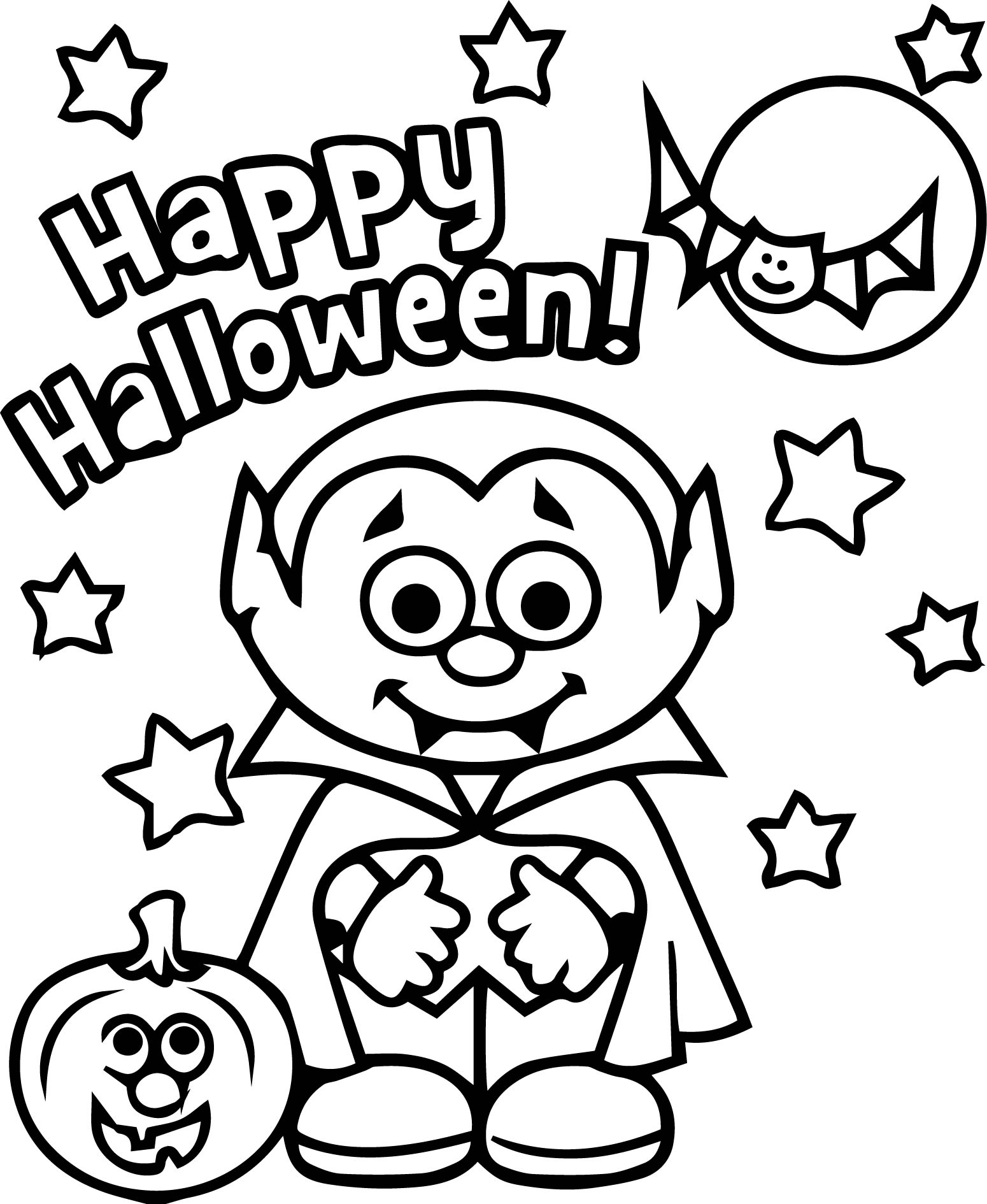 Vampire best happy halloween coloring page for Happy halloween coloring pages printable