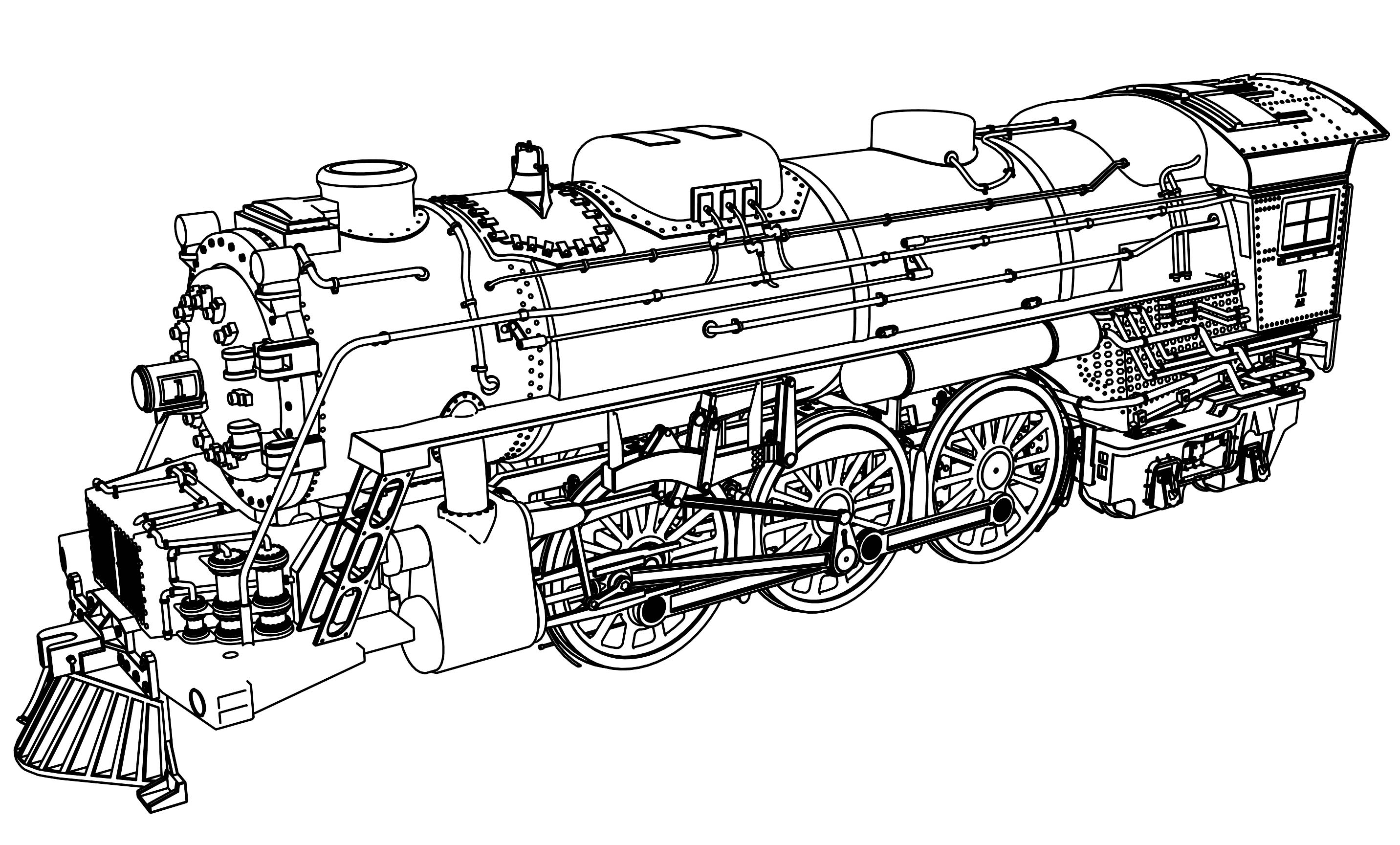 very detail illustration train coloring page