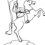 Victory Soldier Holding Flag And Riding Horse Coloring Page