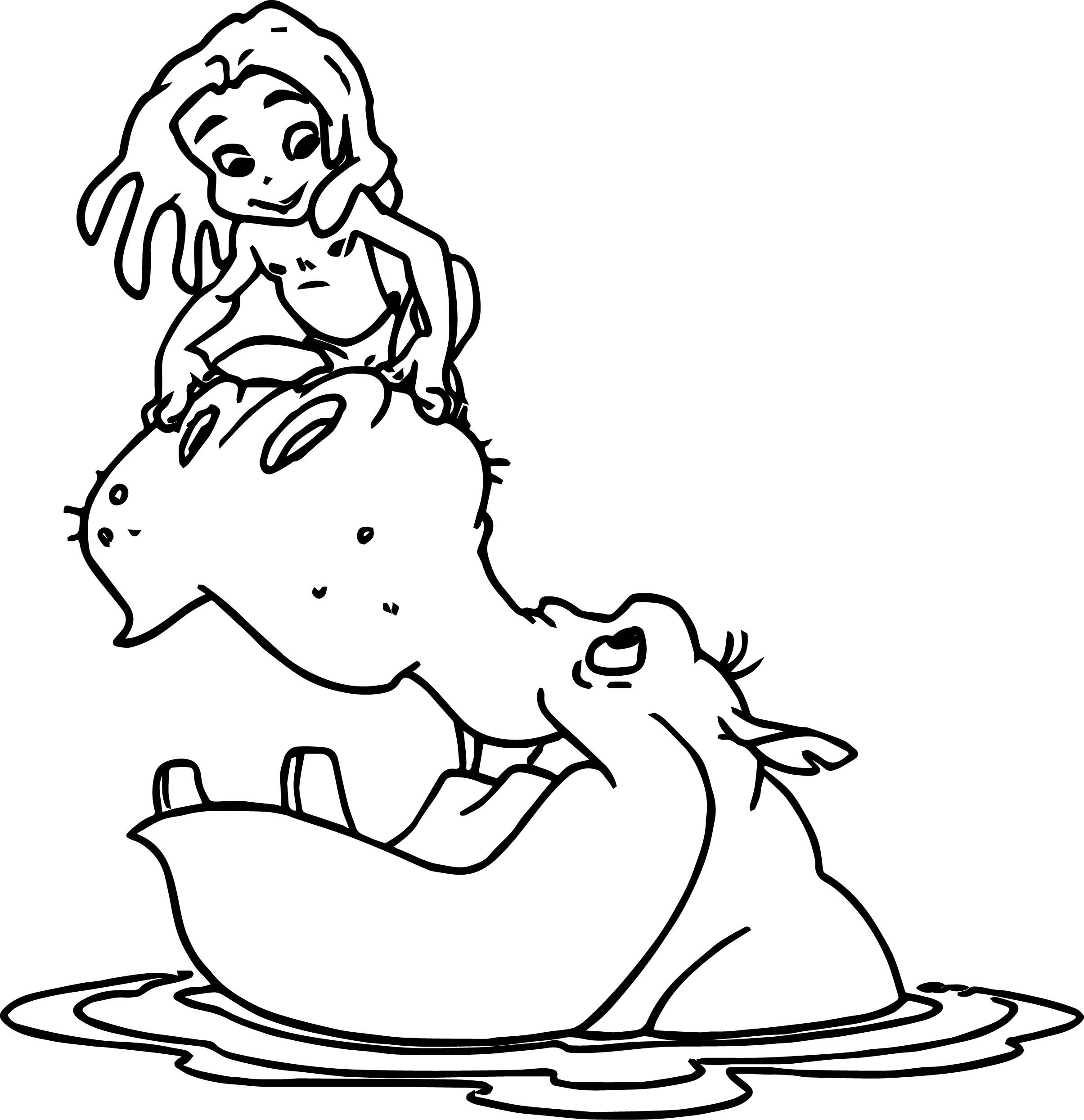 young tarzan and hippo coloring page