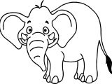 Zoo Animals Tropical Cartoon Wild Elephant Coloring Page