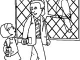 zoo father and daughter coloring page