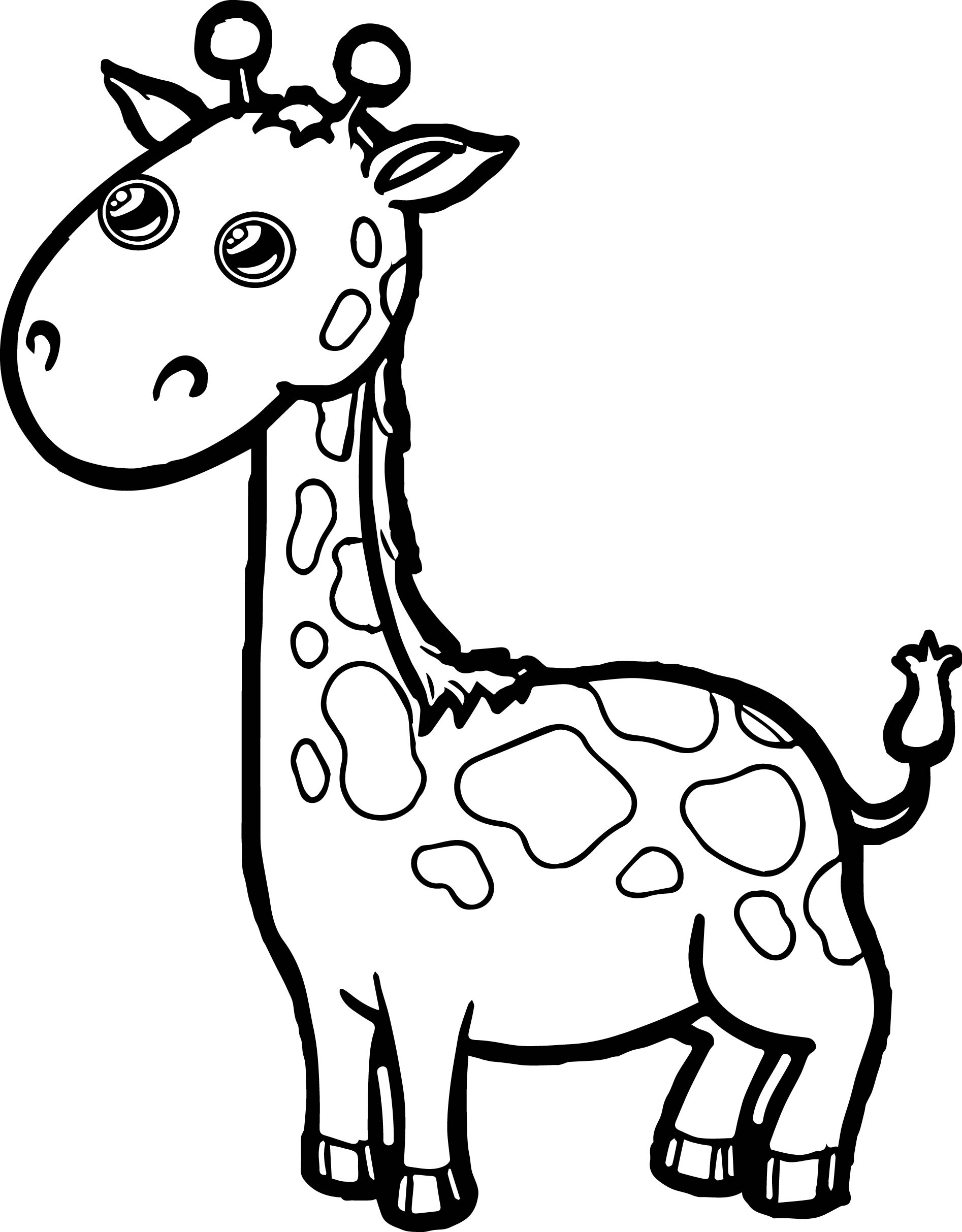 cartoon printable coloring pages - zoo giraffe cartoon coloring page