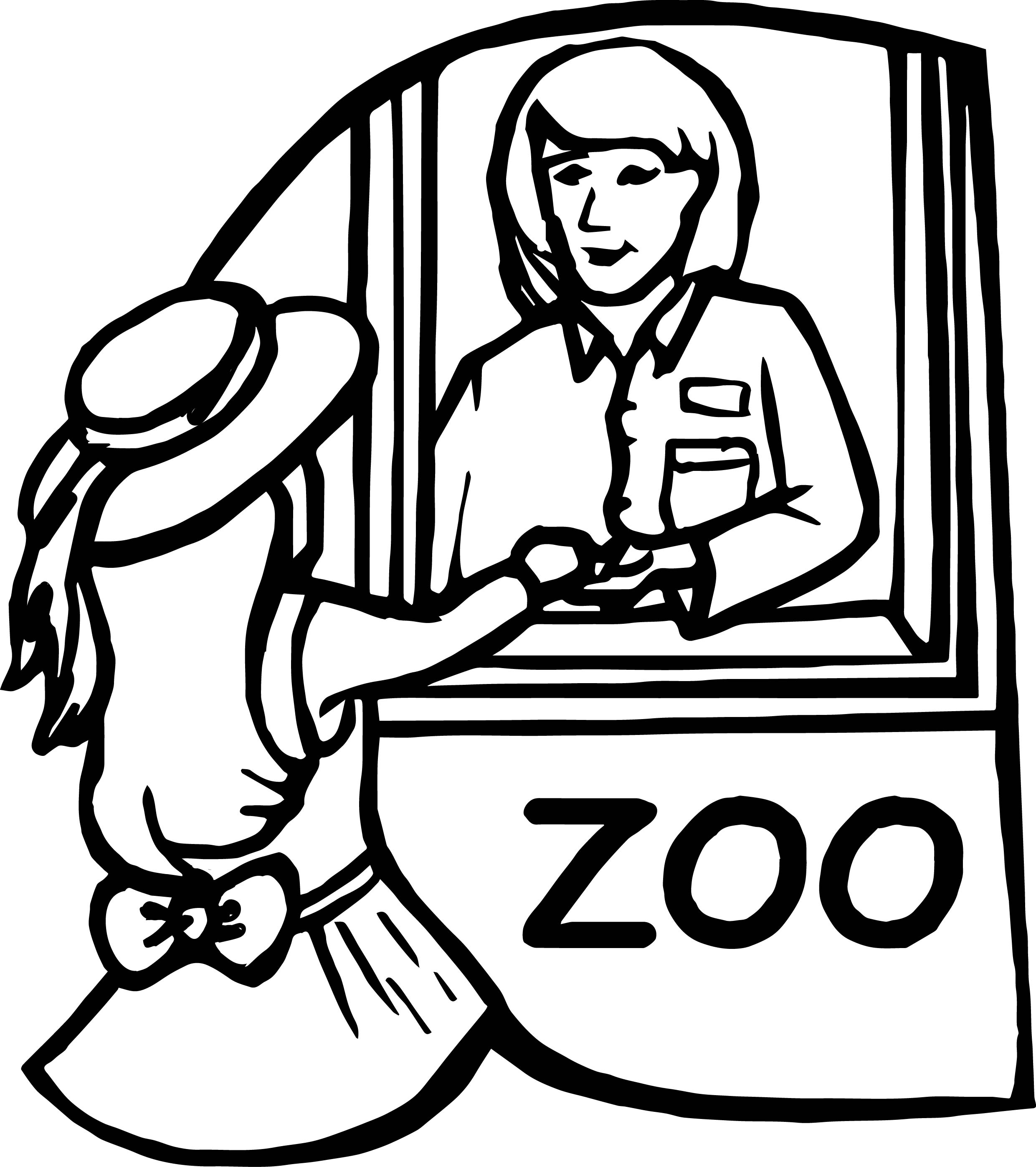 Zoo Girl Cashier Desk Coloring Page