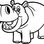 Zoo Hippopotamus Coloring Page