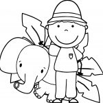 Zoo-Keeper-And-Elephant-Coloring-Page