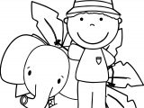 Zoo Keeper And Elephant Coloring Page