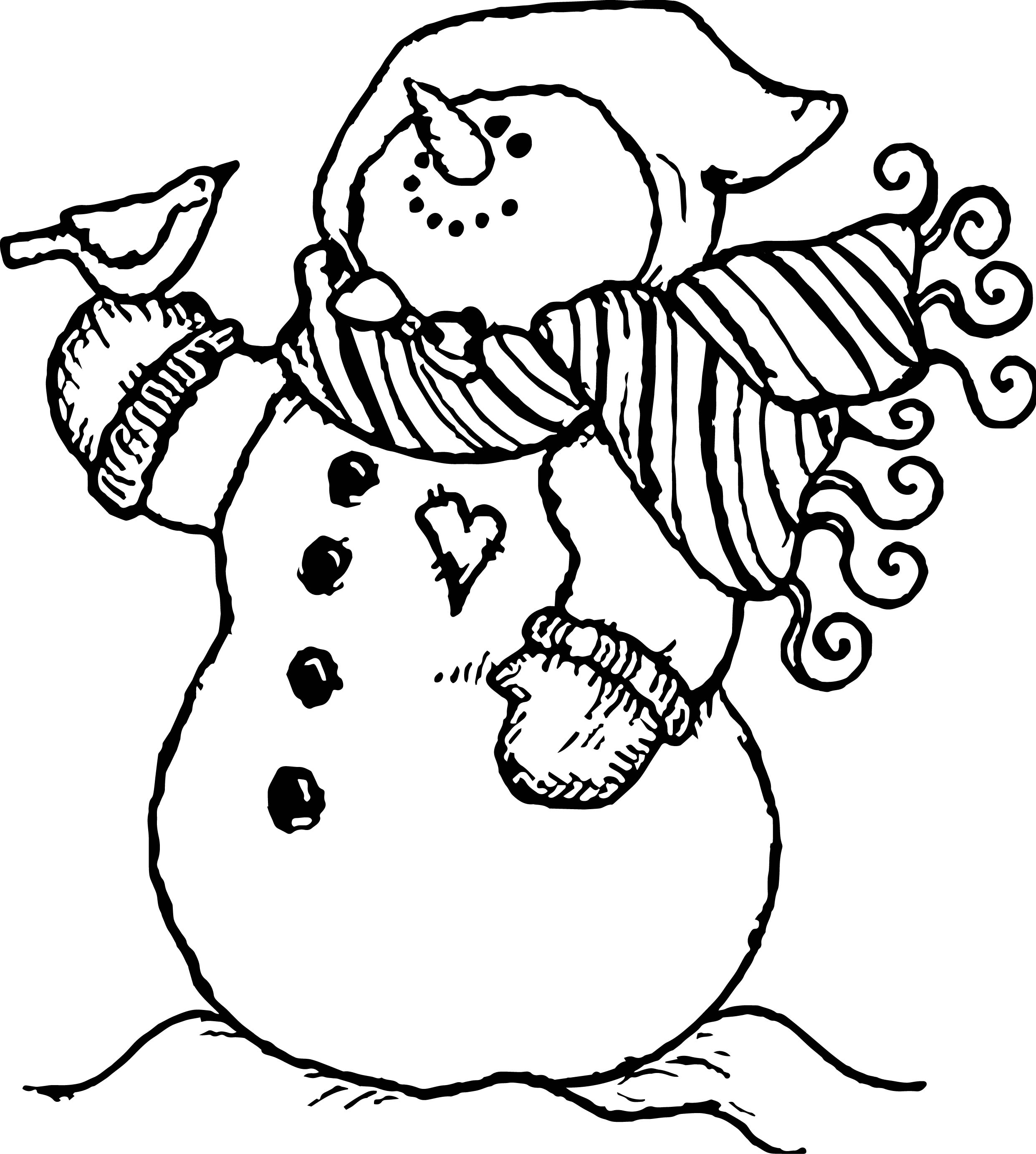 bird and snow man coloring page wecoloringpage