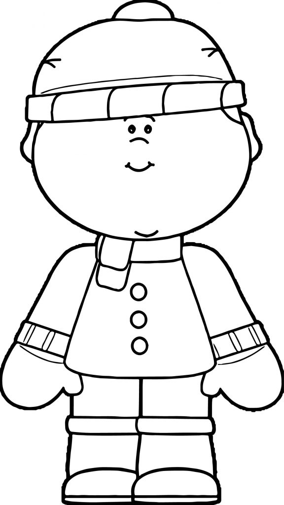 coloring pages of winter clothes - boy dressed in winter clothing coloring page