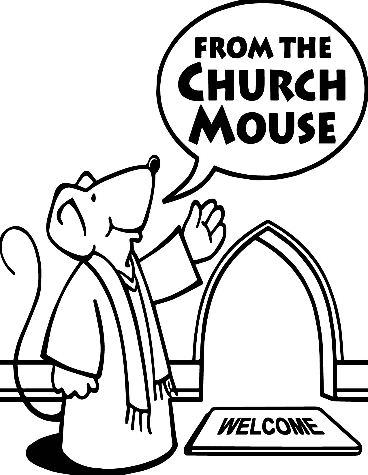 Church Mouse Coloring Page
