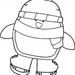 Cute Penguin Ice Skating Coloring Page