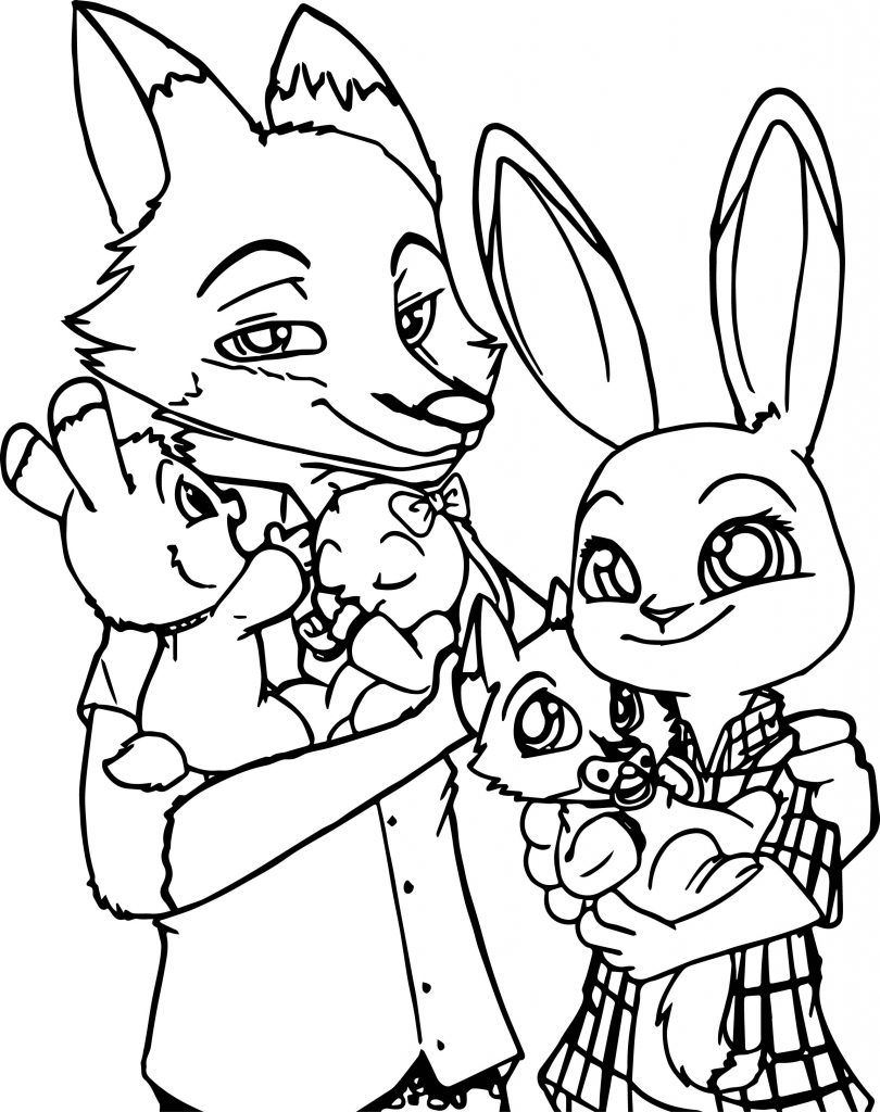 Zootopia Bunny And Fox Family Coloring Page | Wecoloringpage