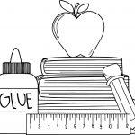 1st Grade School Glue Apple Coloring Page