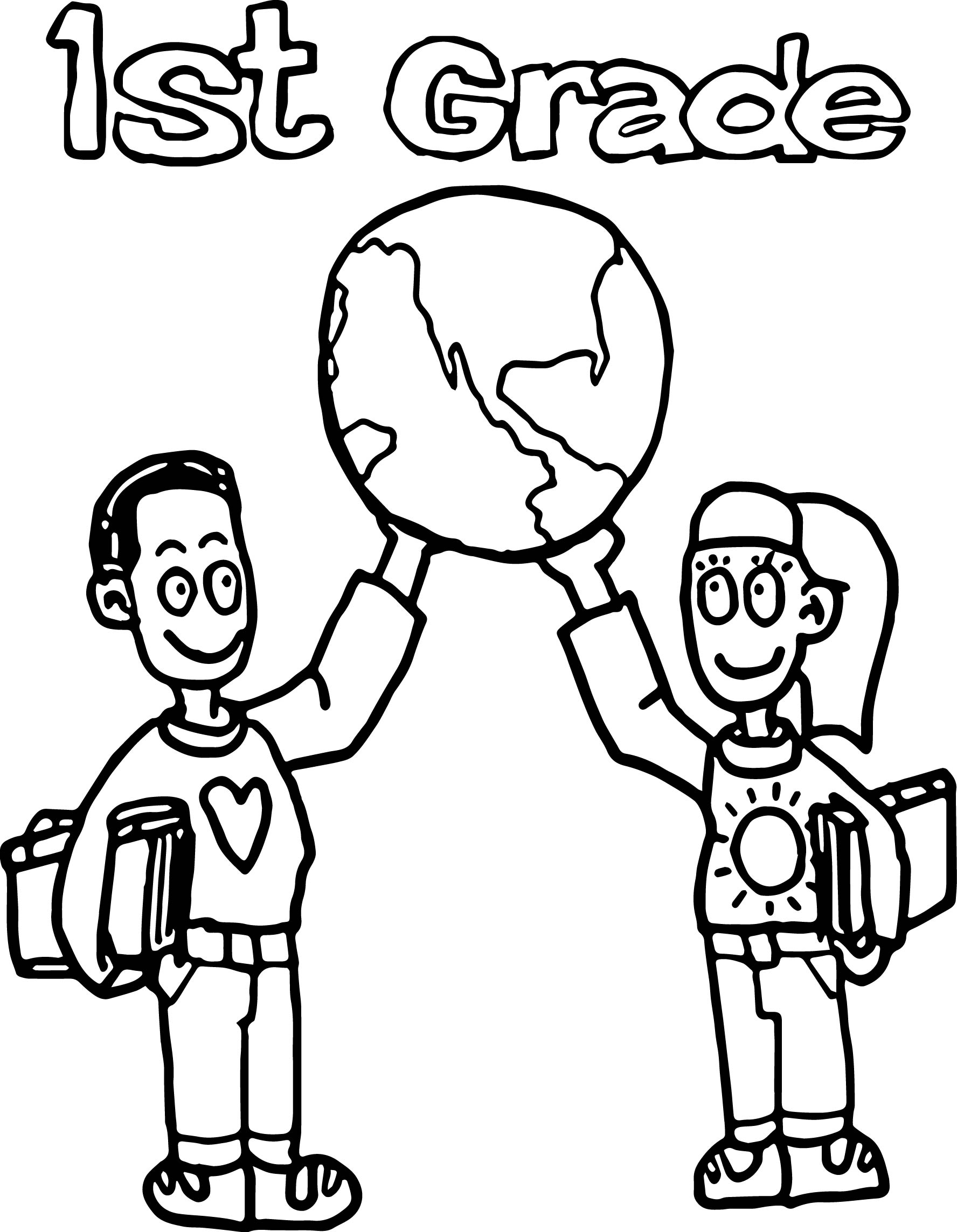 1st Grade School World Coloring Page