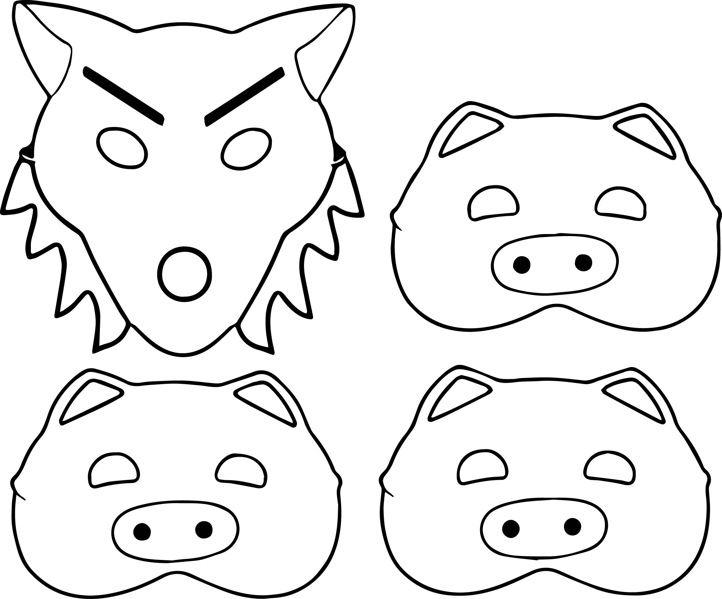 Coloring pages 3 little pigs - 3 Little Pigs And Wolf Mask Coloring Page