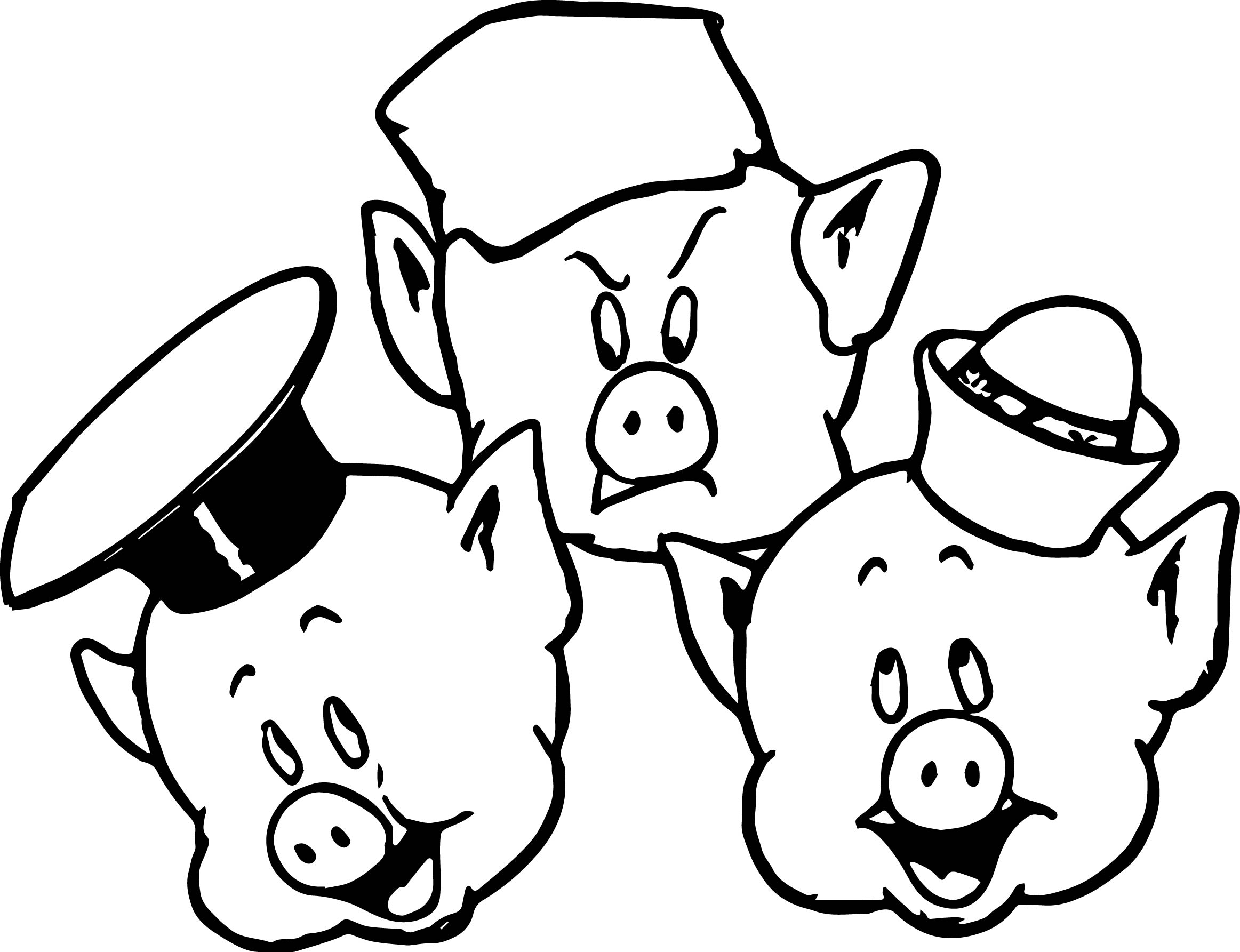 pig coloring page - 3 little pigs face coloring page