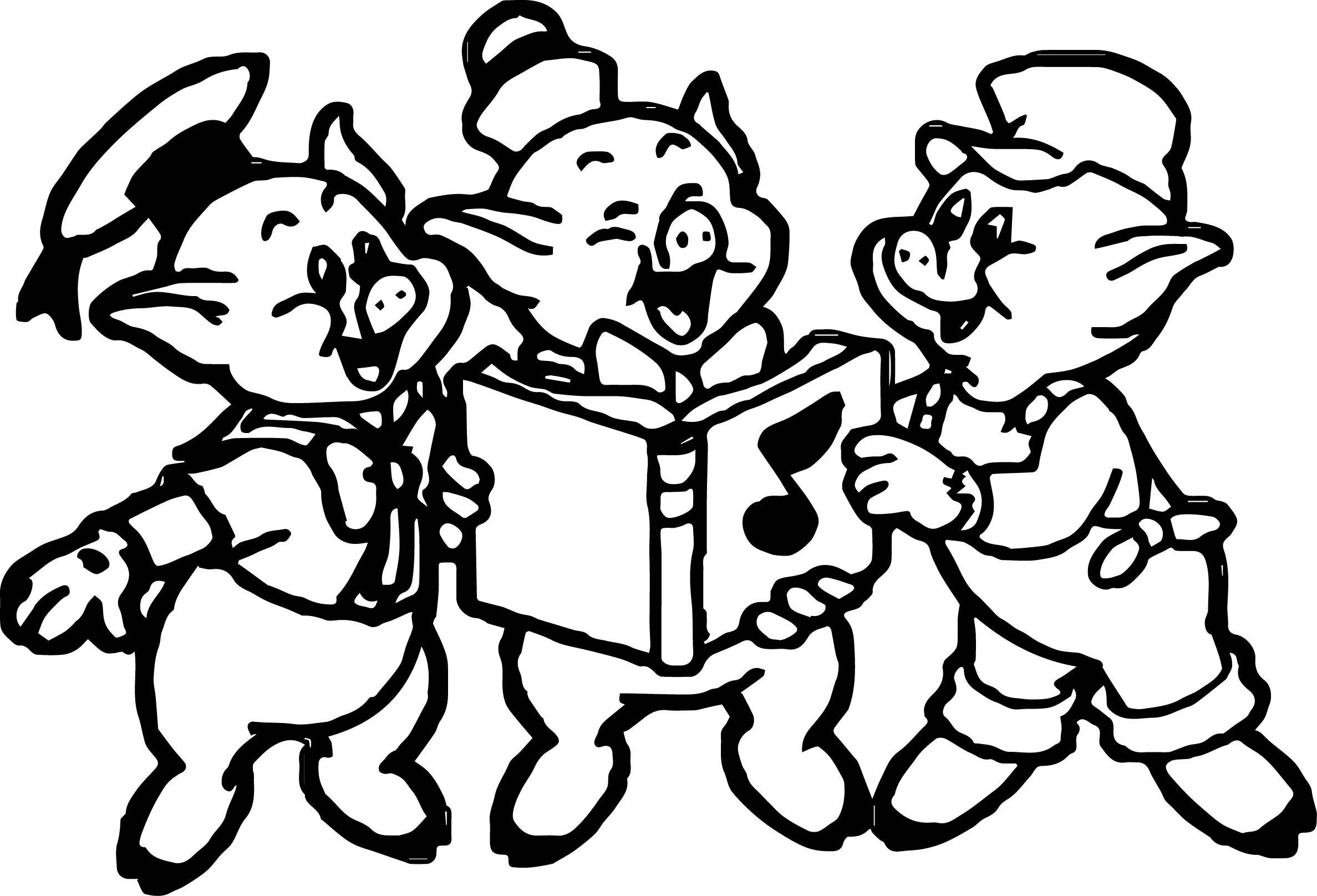 Coloring pages 3 little pigs - 3 Little Pigs Happy Coloring Page