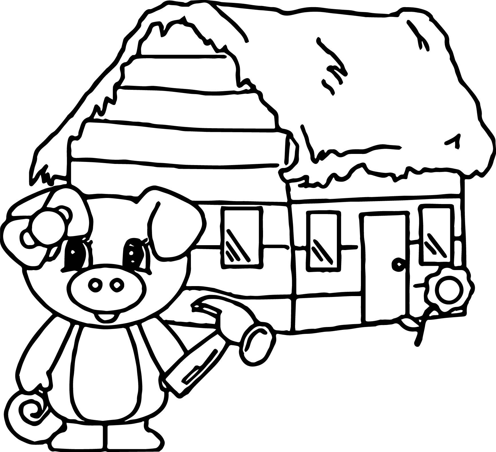 Coloring pages 3 little pigs - 3 Little Pigs House Of Wood Coloring Page